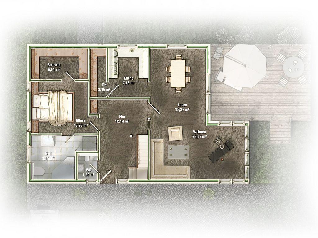 Klimahäuser Kern, 3D Visualisierung, Grundriss