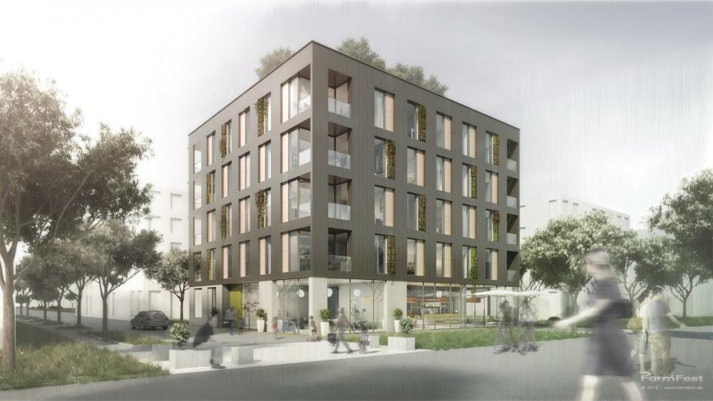 Wettbewerb, Mehrfamilienhaus am Neckarbogen, Architektur, Visualisierung