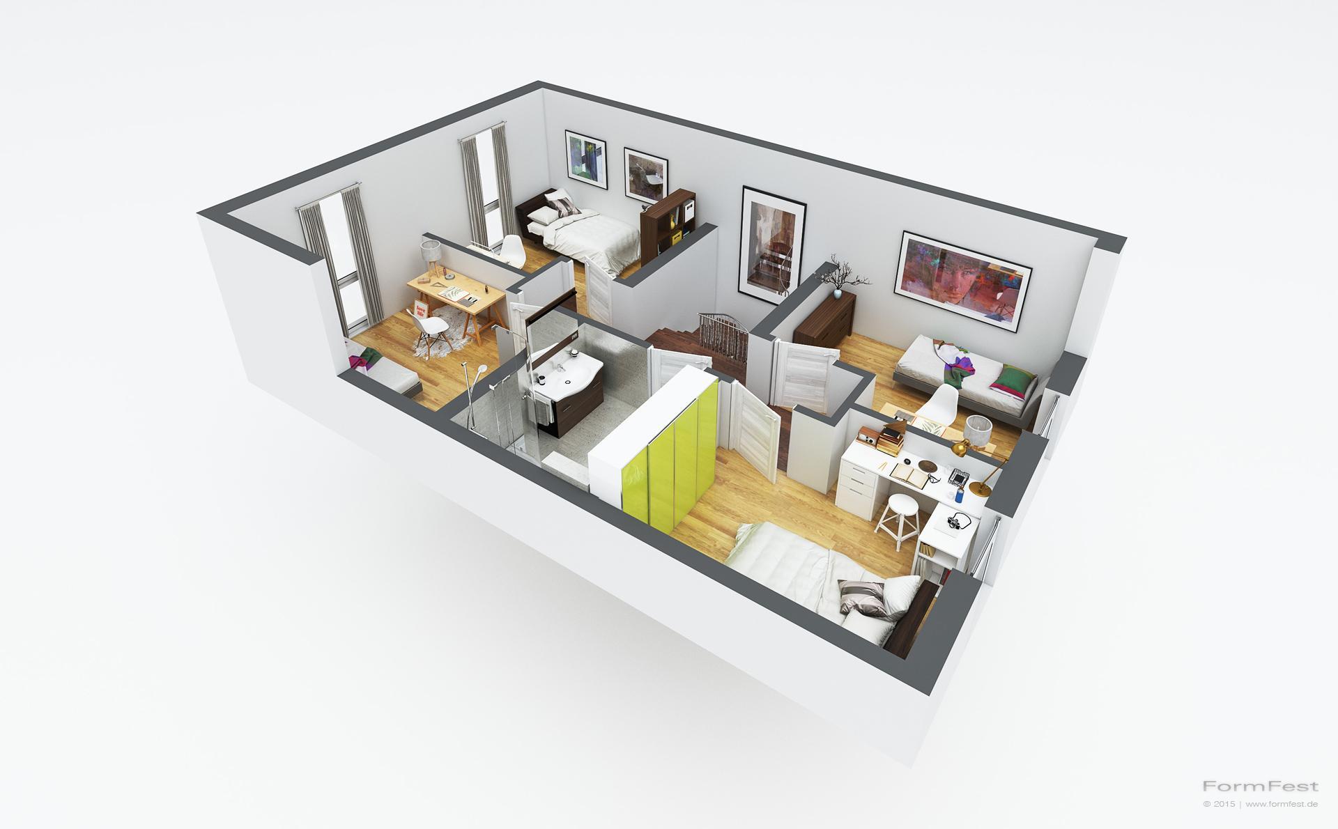 Illustrationen und visualisierungen von grundrissen in 3d neben der darstellung von perspektivischen renderings von architektur ist für den verkauf im
