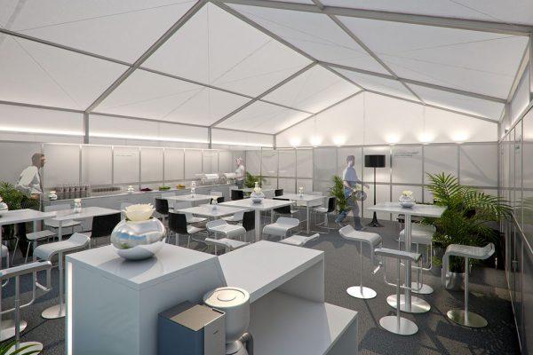 Mercedes GP Petronas Hospitality, Visualisierung Innenraum, 3D
