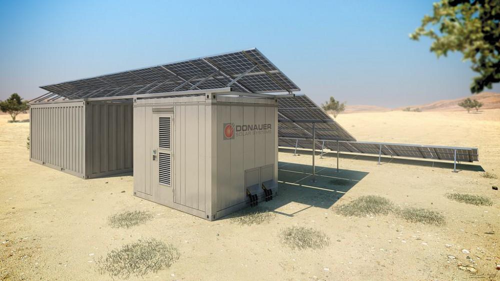 Container Solarkraftwerk, 3D, Visualisierung