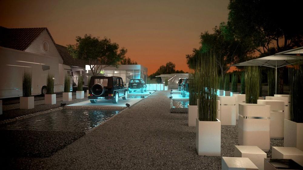 CHIO Mercedes-Benz Präsentation, Aachen, 3D Visualisierung, Nacht