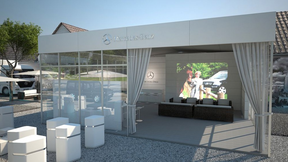 CHIO Mercedes-Benz Präsentation, Aachen, 3D Visualisierung, Innenraum